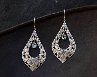 Blue Topaz and Silver Earrings, Silver Filigree Earrings, Blue Topaz Drop Earrings, Statement Earrings, December Birthstone, Sterling Silver