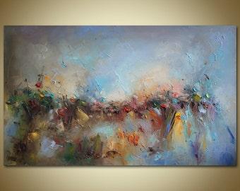 Landscape Oil Painting, Floral Art, Original Art, Large Canvas Art, Oil Painting Abstract, Canvas Art, Rustic Wall Decor, Large Oil Painting