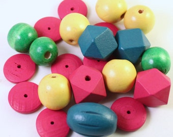 Assorted Colored Wood Bead Mix #3, Dark Teal, Magenta, Kelly Green and Yellow, Mixed Shapes, Wholesale Beads