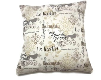 Decorative Pillow Cover Delicate Script Design Gray Black Cream Tan Brown Same Fabric Front/Back Toss Throw Accent 18x18 inch x