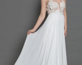 Lace bohemian wedding dress/backless bohemian wedding dress/boho wedding dress/simple beach wedding dress/simple wedding dress/backless boho