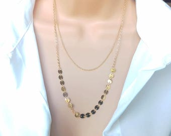 Layering necklace | sequin necklace | gold necklace | layered necklace | gold disc necklace | coin necklace | delicate necklace