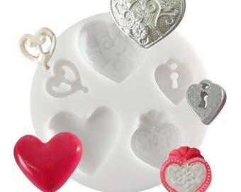 1 MINI hearts CREATIONS FIMO SCULPEY, CERNIT ref 284427 silicone mold