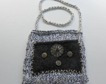 Hand Knit Black, White and Grey Shoulder Bag - Simple Summer