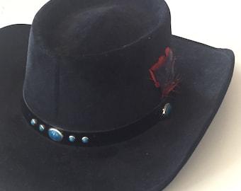 65cf7ef9022 80s Bailey Pressed Velvet Western Gambler Hat Cowboy Hat Spaghetti Western  Southwestern Navajo Turquoise Hat Band