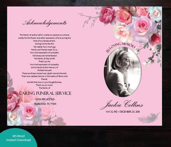 pink roses printable memorial program printable funeral
