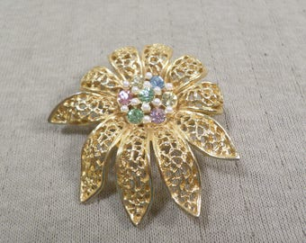 BSK! Beautiful Vintage Gold Tone Filigree Brooch With Rhinestones And Seed Beads Signed BSK  DL#4840