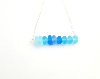 Sea Glass Bar Necklace in Sterling Silver with Blue Sea Glass