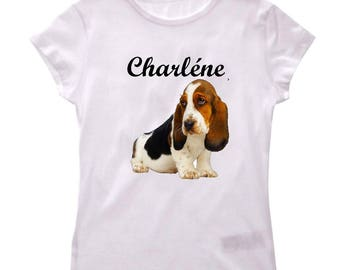 Basset hound girl shirt tee personalized with name