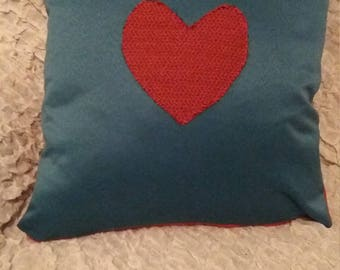 blue and red square cushion cover with a heart on front 16x16