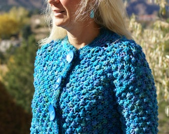 Hand knit sweater as seen in Love of Knitting magazine