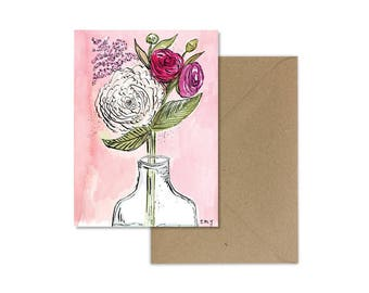 Flower Card//Watercolour Flower Card//Peony Card//Mothers Day//Peony Art//Mothers Day Gift//Flower Greeting Card/Floral Card/For Her/For Mom