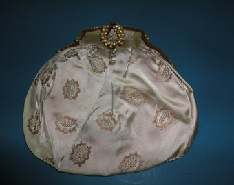 Antique/Vintage French Pearl Clasp and Frame Evening Bag/Purse - Very Rare - Pale Green Sateen with Gold Lozenge design