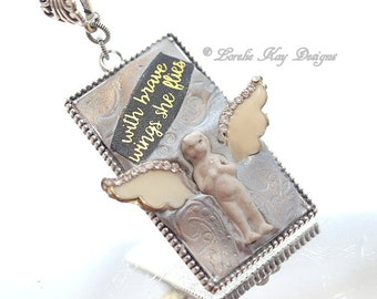 With Brave She Flies Wings Frozen Charlotte Necklace Angel Theme Doll With Wings Pendant Lorelie Kay Original