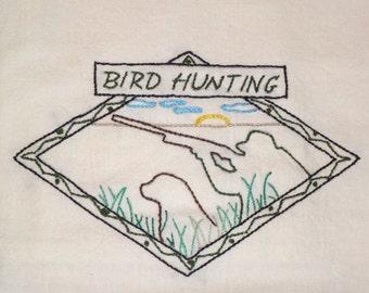 Embroidered Floursack Dishtowel with Bird Hunting Theme