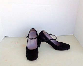 vintage GUCCI black suede high heel mary jane shoes sz 36c