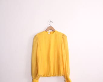 Canary Yellow Pleated Ruffle Blouse