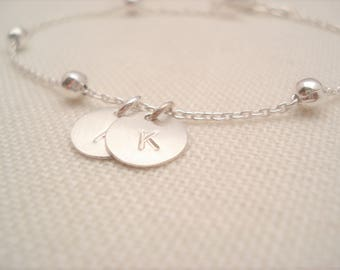 Sterling silver ball Bracelet...Personalized initial disc charm bracelet, Layering, Sorority gift, bridesmaid gift, simple everyday jewelry