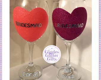 Wedding glitter wine glass perfect gift present bridesmaid bestie
