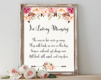 Floral In Loving Memory Sign Printable Boho Memorial Sign Wedding Memorial Sign Blush Memorial Sign Wedding Reception Sign Instant Download