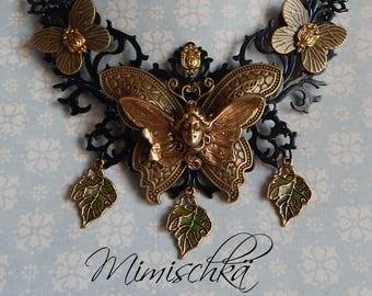 Necklace fairyland fairy queen butterfly leaf