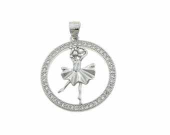 Fairy pendant with white cubic zirconia in sterling silver 925 white gold plated length 2 cm hypoallergenic