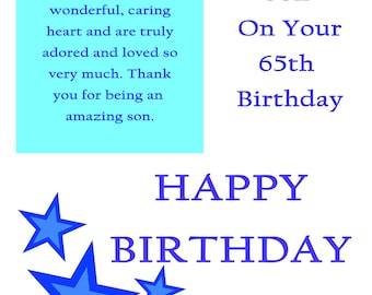 Son 65 Birthday Card with removable laminate