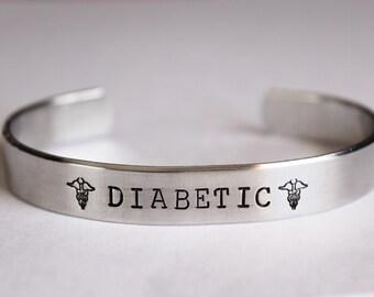 Medical alert bracelet - Hand stamped DIABETIC - Custom made to your medical alert