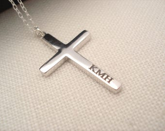 Sterling silver Personalized Cross Necklace...Custom engraved cross charm, bridesmaid gift, bible verse, religious, faith gift