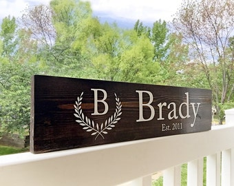 Customizable Family Name Monogrammed Wood Sign Established