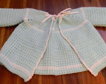 Adorable Vintage Handmade Knit Baby Sweater with Drawstring Mint Green