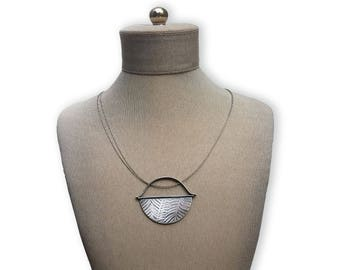 Half Moon Embossed Necklace - Large Silver Pendant Handmade by Queens Metal