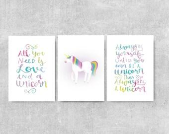 Unicorn Gift, Be A Unicorn Print Set, Set Of 3 Prints, Gift For Young Girl, Unicorn Illustration, Girls Room Wall Art, Girls Prints