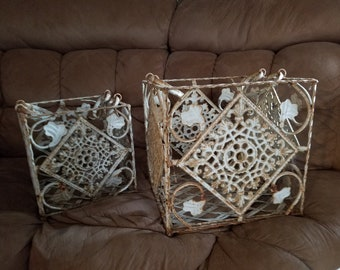 Metal Ornate Set of 2 Baskets W/Handles