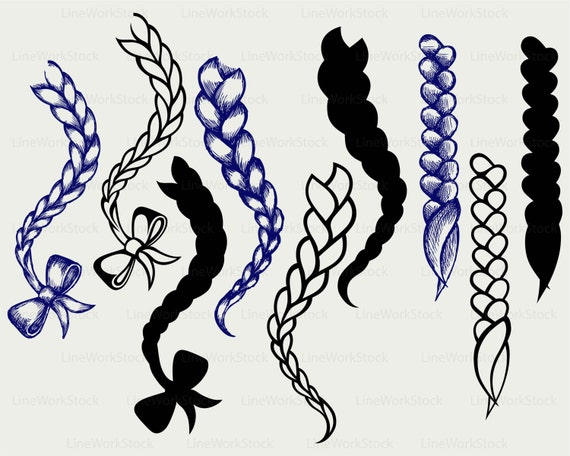 Hair Braided Svg Braid Clipart Braid Svg Hair Braided