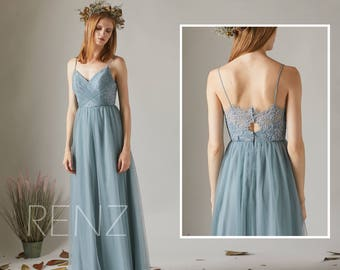 Bridesmaid Dress Dusty Blue Tulle Dress Wedding Dress,Spaghetti Strap Maxi Dress,Sweetheart Ball Gown,Lace Illusion Back Party Dress(HS509)
