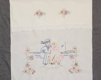Vintage Tea Towel Cover from Finland, embroidered kitchen towel, Scandinavian tea towel cover