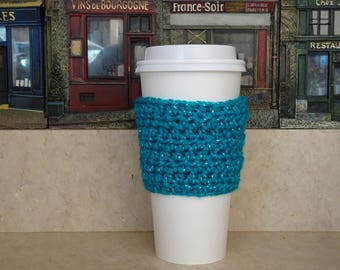 Turquoise Sparkle Cup Sleeve, Crochet Cup Sleeve, Crochet Cup Cozy, Cup Cozy, Reusable Cup Sleeve, Coffee Lover Gift, Tea Cozy
