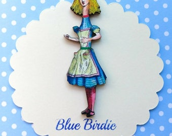 Tall Alice brooch Alice in Wonderland jewelry Alice brooch Alice in wonderland brooch Alice jewellery Alice grows tall badge Alice gifts