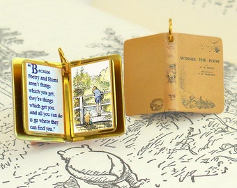 Winnie the Pooh by A.A. Milne - Miniature Book Shaped Charm Quote Pendant - for charm bracelet or necklace. Custom available!