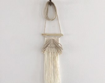 Woven cotton necklace, minimalist necklace, white necklace, yarn art necklace, woven wearables, ethical fashion