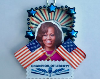 An shadowbox shrine in honor of Michelle Obama