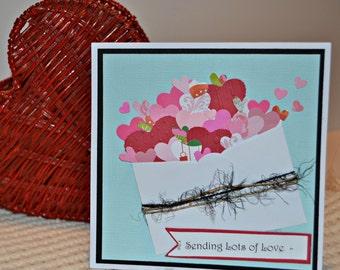 Valentine Day Card / My Love Greeting Card / Hearts Handmade Card / Sending Lots of Love / Bursting Hearts Card / Valentines Card /Love Card