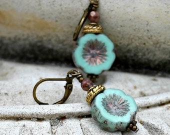 Bohemian Czech Flower Earrings, Aqua Blue, Antique Brass, Boho, Gift for Her, Beach, Christmas Gift for Women