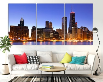 Chicago Night Skyline Wall Art Canvas Print, Chicago Downtown Wall Art Print, Chicago Art Print, Wall Art Chicago Print, Chicago Night Print