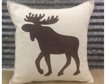 Decorative Pillow with a Moose silhouette. COMPLETE pillow. Cabin decor Hunting decor Lodge decor Moose pillow