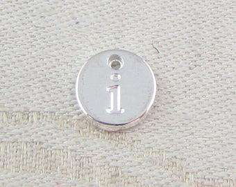 1 or 5, Initial Charm, Charm Bracelet, Lower Case Letter, Silver Letter, Initial Pendant, Alphabet Charm, Lower Case Charm, ALF021i-PL
