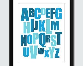Mixed Alphabet Wall Print. Modern ABC Wall Art - 8x10 Baby Children Nursery Poster