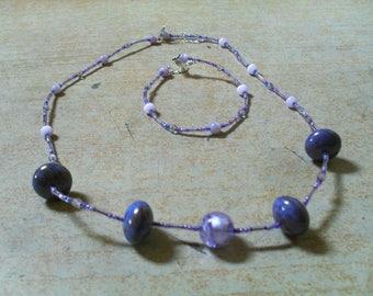 set (necklace and bracelet) modern, summer, original (purple)