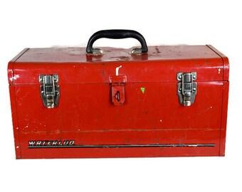 Vintage Tool Box - Red Waterloo Tool Box, Red Tool Box, Red Vintage Waterloo Tool Box, Large Red Tool Box, Waterloo Red Tool Box